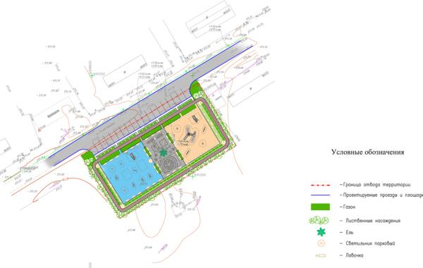Площадка для массового отдыха жителей с размещением на ней детской игровой площадки ул. 70 лет Октября в п. Верхнемарково